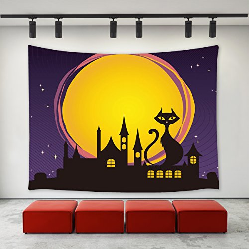 Black Cats Around Halloween (LBKT Tapestries Wall Hanging for Halloween Party, Happy Halloween Eve Moon Night Theme Black Cat Sitting on the House Roof Purple Print Tapestry Wall Art for Home Decor Decoration)
