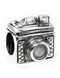 Queenberry Sterling Silver Antique Classic 3D Photography Camera Bead For European Chamilia Biagi Troll Pandora Charm Bracelets