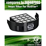 For Hoover Exhaust HEPA Filter 305687002 with Carbon Insert for Wind Tunnel 2/3 Pet. Designed and Manufactured by Green Label.