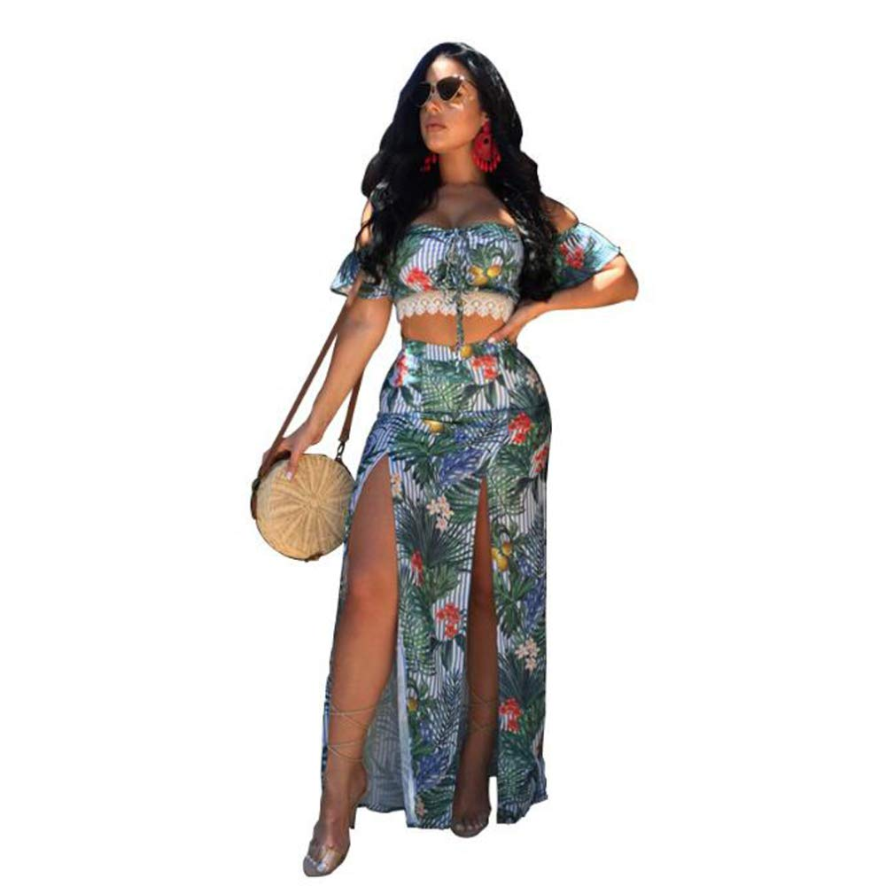 RATWIFE Women's Fashion Printed Casual TwoPiece Suit Pants Women's Halter Openwork Printed Silk Dress TwoPiece Suit
