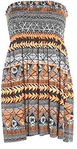 Cliquez Sur Selfie Nouvelles Femmes Plus La Taille Imprimée Sans Bretelles Bandeau Sheering Télé Haut Robe 4-22 Aztec D'orange