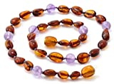 Baltic Amber Teething Necklace made with Amethyst Beads - Size 11 (28 cm) - Polished Cognac Amber Beads - BoutiqueAmber (11 inches, Cognac Bean / Amethyst)