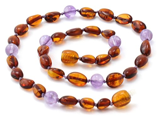 Baltic Amber Teething Necklace made with Amethyst Beads - Size 11 (28 cm) - Polished Cognac Amber Beads - BoutiqueAmber (11 inches, Cognac Bean / (Long Baltic Amber Necklace)