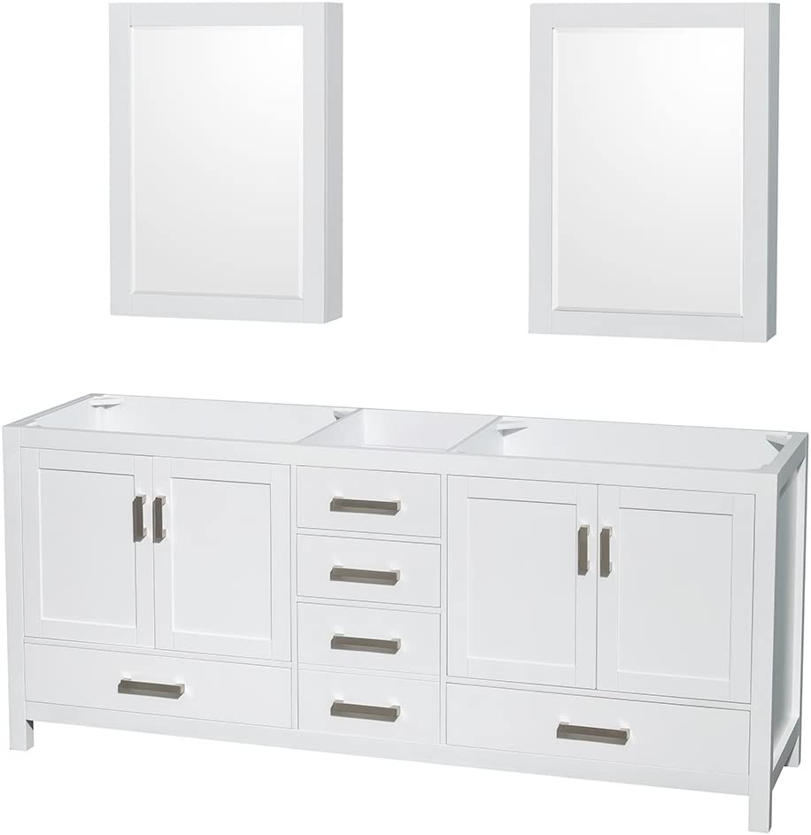 Wyndham Collection Sheffield 80 inch Double Bathroom Vanity in White, No Countertop, No Sinks, and Medicine Cabinets
