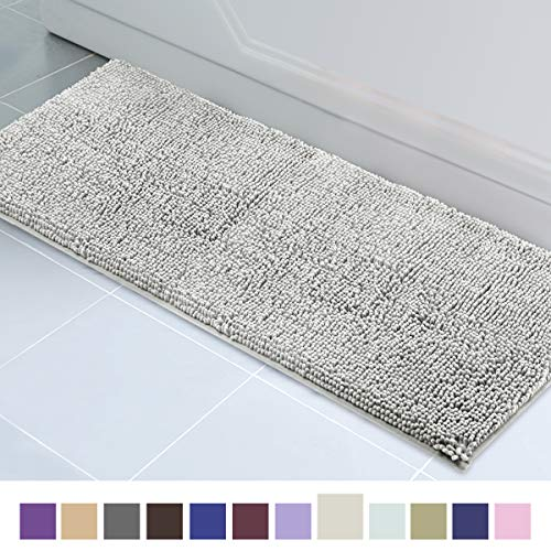 Runner Bath (ITSOFT Non-Slip Shaggy Chenille Soft Microfibers Bathroom Rug with Water Absorbent, Machine Washable, 21 x 59 inch Light Gray)