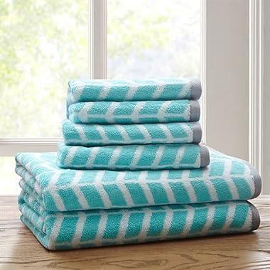 Intelligent Design Nadia 6 Piece Cotton Jacquard Towel Set Teal 28x54216x264