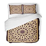 Emvency Bedding Duvet Cover Set Full/Queen (1 Duvet Cover + 2 Pillowcase) Laser Cutting Panel Golden Floral Favor Box Silhouette Coaster for Metal Wood Hotel Quality Wrinkle and Stain Resistant