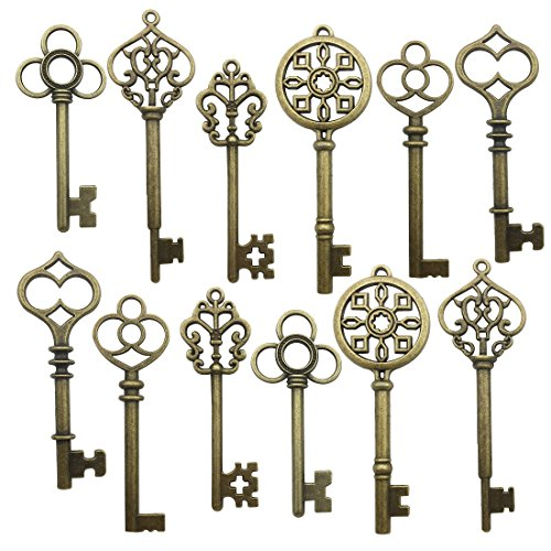 - 24 PCS Big Skeleton Key Charms Collection - Mixed Antique Bronze Steampunk Gear Wedding Heart Key Metal Pendants for Jewelry Making DIY Findings (24 Bronze Key HM105)