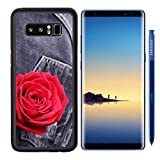 MSD Premium Samsung Galaxy Note8 Aluminum Backplate Bumper Snap Case IMAGE ID: 34879601 red rose flower on black jeans denim texture Recommended with Reviews