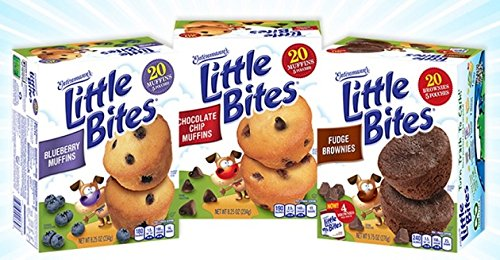 Entenmann's Little Bites Mini Muffins Variety Bundle: Blueberry, Chocolate Chip, Fudge Combo.