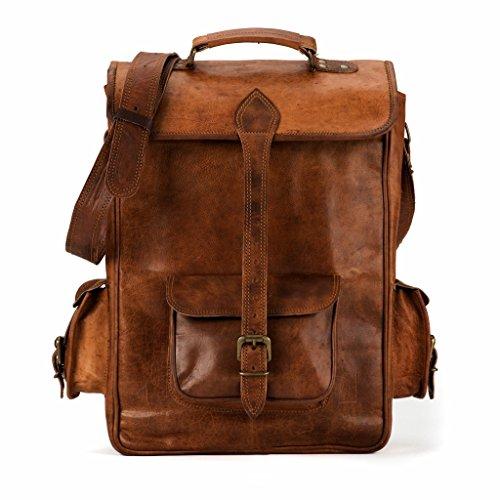 Handmade Vintage styled leather laptop school backpack