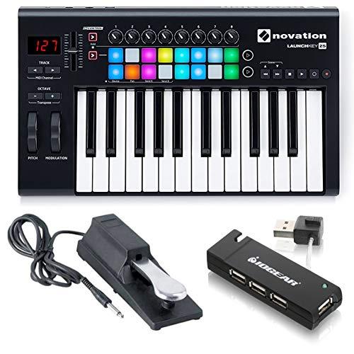 Novation Launchkey 25 Key USB MIDI Ableton Keyboard Controller with Sustain Pedal and USB HUB