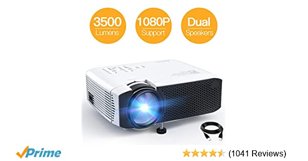 Projector, APEMAN Mini Portable 3500L Video Projector LED with Dual  Speakers 45000 Hours Support HD 1080P HDMI/VGA/TF/AV/USB, Laptop/TV  Box/Phone/PS4