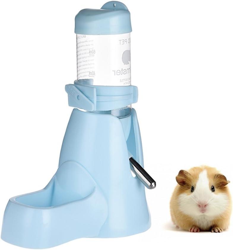 Botella de agua 3 en 1 para animales pequeños, Bebedero de hamster, Contenedor de alimentos para bebidas, reposapiés para hámsteres, cobayas, conejos, ratas, hurones, enanos, gerbos Azul 80 ml