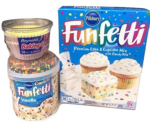 Pillsbury Funfetti Premium Cake Cupcake Mix Bundle 3 Piece Set With Frosting and Baking Cups