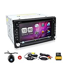 Wireless Backup Camera included!6.2 Inch Double DIN Car Stereo GPS Navigation in Dash Vehicle Dvd Player Touch Screen Autoradio with Bluetooth USB Sd Mp3 Player for Universal Car Free Backup Camera and 8GB map card