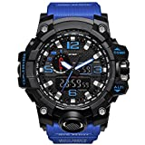 Bounabay Men's Military Digital Sport Watch Water Resistant Outdoor LED Back Light Display,Blue