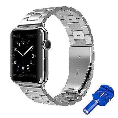 (Apple Watch Band 38mm SKYii Stainless Steel iWatch Bracelets Replacement Metal iWatch Band Strap for Apple Watch Wristbands Series 1 Series 2 Series 3 Stripe Butterfly Buckle Clasp Closure Silver)
