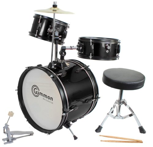 Drum Set Black Complete Junior Kid's Children's Size with Cymbal Stool Sticks - Sticks - Everything You Need to Start Playing by Gammon Percussion