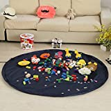 Coofone Large 59 Inches Children's Play Mat & Toys Storage Bag - Toys Organizer Quick Pouch Portable Kids Toy Quick Organizer Storage Bag Play Mat For Lego (Royal Blue)