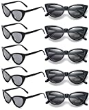 10 Pack Retro Vintage Narrow Cat Eye Sunglasses for Women Party Favors Clout Goggles Plastic Frame (Black cateye sunglasses)