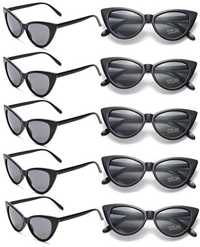 (10 Pack Retro Vintage Narrow Cat Eye Sunglasses for Women Party Favors Clout Goggles Plastic Frame (Black cateye sunglasses))