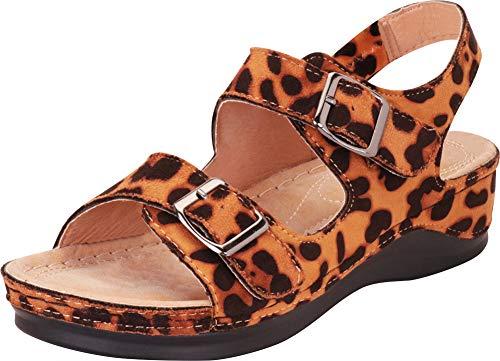 Cambridge Select Women's Two-Strap Slingback Chunky Platform Sandal,7.5 B(M) US,Leopard IMSU ()