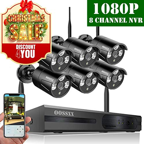 【2019 Update】 OOSSXX HD 1080P 8-Channel Wireless Security Camera System,6 pcs 1080P 2.0 Megapixel Wireless Weatherproof Bullet IP Cameras,Plug Play,70FT Night Vision,P2P,App, No Hard Drive -