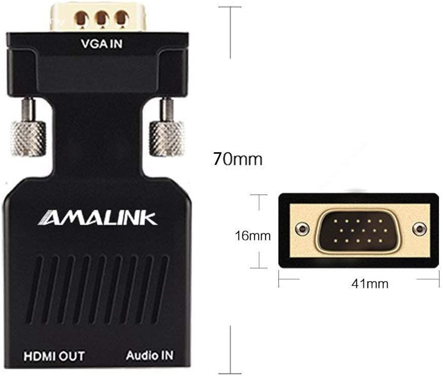 HDMI to VGA Adapter AMALINK HDMI Female to VGA Male Converter with Audio