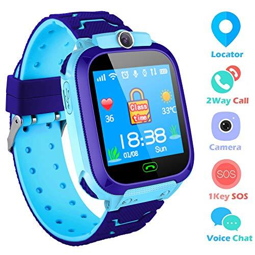 SZBXD Kids Smart Watches Phone, GPS Tracker Camera Touchscreen Smartwatch Games Flashlight SOS Alarm Clock Smart Wrist Watch Christmas Birthday Gifts for Girls Boys (Blue 2)