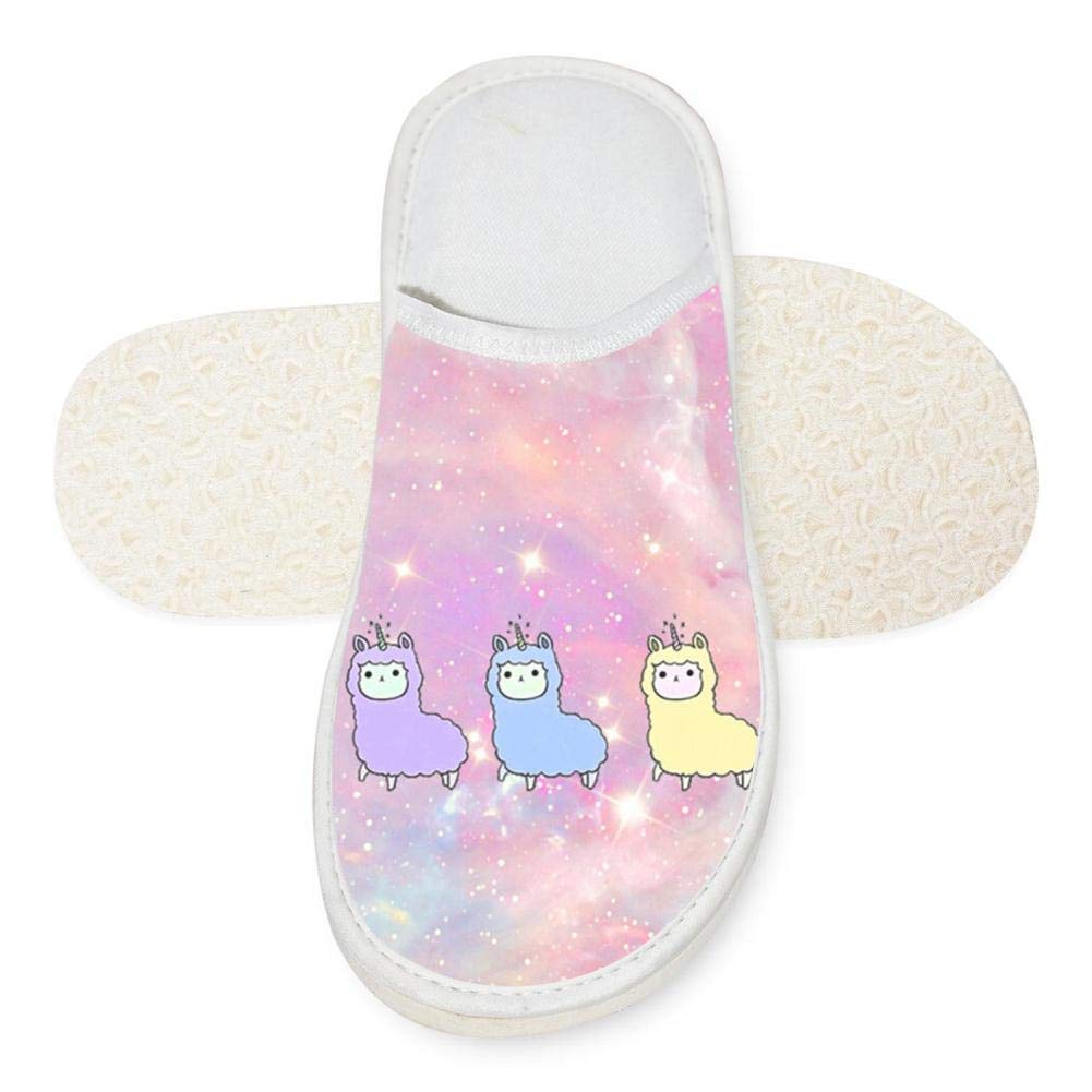 Rainbow Llama Cotton House Slippers Flat Indoor Slip Room Shoes Slipper For Men Woman