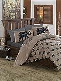 3 Pcs Luxury Soft Colored Bedroom 100% Cotton Ranforce Quilt Duvet Cover Set Elephant Animal Africa Safari Big Cute Travel Land Tree Super Bed