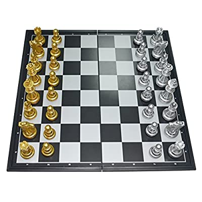 17.8'' Golden/Silver Chess Set Magnetic Chess Pieces Bottom Folding Chess Board HIPS Plastic Portable & Durable