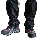 Ellami® 2 Pair Black Unisex Waterproof Windproof Leg Gaiters Leggings Cover for Biking Boating Fishing Skiing Snowboarding Hiking Climbing Hunting with Velcro Zippered Closure