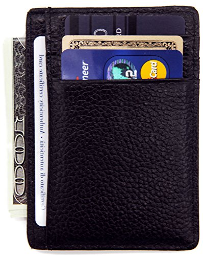 DEEZOMO RFID Blocking Genuine Leather Credit Card Holder Front Pocket Wallet With ID Card Window – Coffee