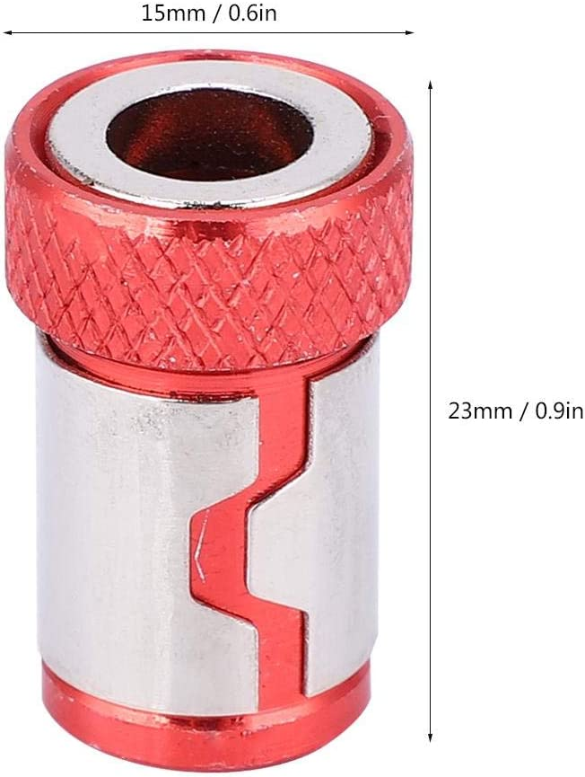 Red Screwdriver Magnetic Ring Anti-Slip Aluminum Alloy Accessories for 1//4 Screwdriver Bits 5Pcs Red Yellow
