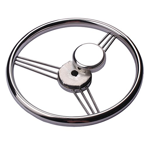 For Boats Dishes (Hoffen 9-Spoke 13-1/2 Inch Stainless Steel Steering Wheel Marine Boat,15 Degree Dish)