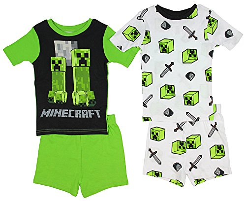Minecraft Little/Big Boys Charcter Print Four-Piece Snug Fit Pajama Short Set