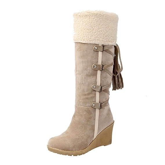 Bottes Hautes à Franges,LuckyGirls Femmes Chaussures Bottines Indiennes de  Cuissarde avec Fell Chaud à Talon Moyenne Compensees avec Frange et  Platform ... 7e05d5edb7f1