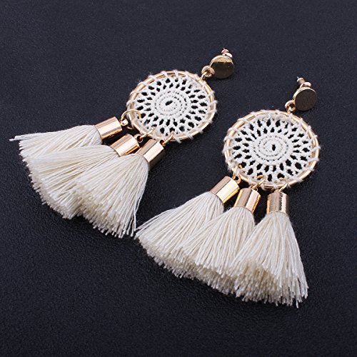 Tassel Earrings White Long Bohemian Geometric Dangle Earrings for Women by FEDNON (Image #1)