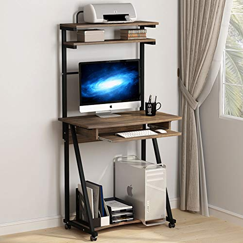 Tribesigns 3 Tier Computer Desk With Printer Shelf And