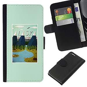 WINCASE Cuadro Funda Voltear Cuero Ranura Tarjetas TPU Carcasas Protectora Cover Case Para Apple Iphone 5C - montañas del invierno poster estado EE.UU.