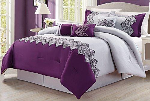 7 piece oversize purple grey black embroidered luxury comforter set full size bedding home. Black Bedroom Furniture Sets. Home Design Ideas