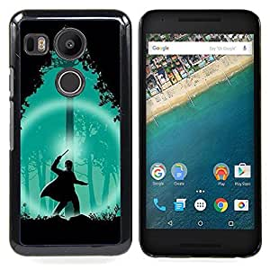 - Green Wizard Forest Night Silhouette - - Snap-On Rugged Hard Cover Case Funny HouseFOR LG Google Nexus 5X