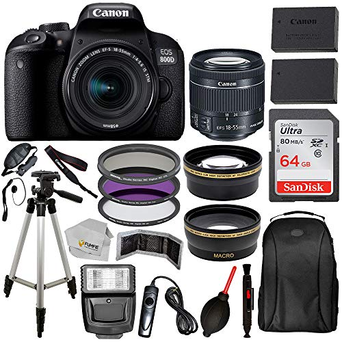 Canon EOS 800D (Rebel T7i) 18-55mm IS STM Lens (Black) with Professional Accessory Bundle Package Includes: SanDisk Ultra 64GB SDXC Memory Card + Extended Life Spare Battery + 50'' Tripod & More