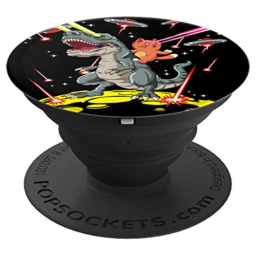 Space Cat Riding T-Rex Laser Eyes Alien Invasion - PopSockets Grip and Stand for Phones and Tablets]()