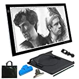 A3 Light Box,Yaufey Portable Thin LED Artcraft Drawing Board DC Power Cable Dimmable Brightness Tatoo Pad Copy Board for Drawing Sketching Animation Designing X-ray Viewing
