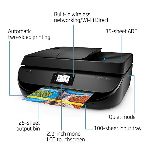 Large Product Image of HP HP4650-RB-AMZ Office Jet 4650 Wireless All-in-One Photo Printer, Copier and Scanner - Black (Certified Refurbished), Black & Color