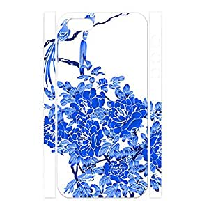 Fashionable Chinese Style White and Blue Porcelain Pattern Handmade Hard Plastic Phone Accessories Cover for Iphone 5 5s Case