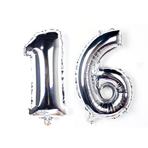 KEYYOOMY 40 inch Number 16 Balloon Silver Gaint Jumbo Foil Mylar Number Balloons for Sweet 16 Birthday Party Decorations -